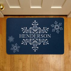 Personal Creations #Gifts  #Personalizedgifts Personalized Holiday Snowflake Welcome Doormat | Personal Creations - Great Personalized Gifts via- http://www.AmericasMall.com/personalcreations-gifts