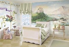 I love the wall art with the castle... I'm not a fan of the unicorns... but this is so pretty