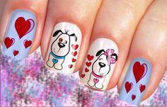 Dog Nail Art, Animal Nail Art, Dog Nails, Cute Nail Art, Cute Nails, Animal Nail Designs, Easter Nail Designs, Anime Nails, Valentine Nail Art