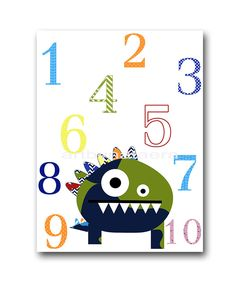 Numbers Monster Wall Decor Instant Download Print Digital Download Art Baby Boy Nursery Print Baby Nursery Decor Digital Print 8x10 11X14 by nataeradownload on Etsy