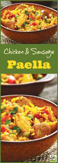 Chicken and Sausage Paella recipe. Click to get this one pot, gluten free, chicken, rice and sausage recipe. It's gluten free and allergy free.