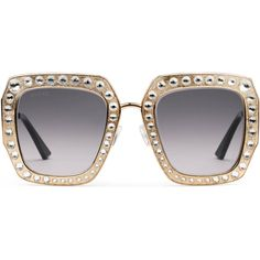 Gucci Oversize Square-Frame Metal Sunglasses ($1,175) ❤ liked on Polyvore featuring accessories, eyewear, sunglasses, gold, metal sunglasses, oversized glasses, gucci sunglasses, square frame glasses and gucci