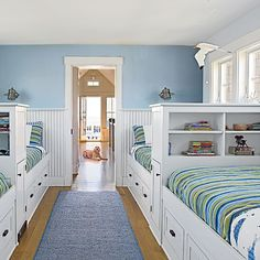 Embrace the Power of Built-ins - 20 Fun, Beachy Bunk Rooms - Coastal Living