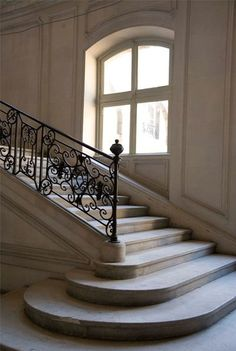 A Simply Amazing Life Marble Stairs, Stone Stairs, Wooden Stairs, Grand Entryway, Entry Foyer, Black Stair Railing, Railings, Stair Lift, French Chateau