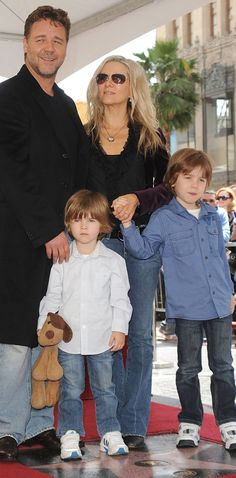 "Russell Crowe with (then current, now ex-) wife Danielle Spencer and sons Charlie and Tennyson recieving star on the "" Hollywood walk of fame. Celebrity Stars, Celebrity Couples, Hollywood Star, Hollywood Walk Of Fame, Russell Crowe, Hollywood Boulevard, Ex Wives, Family Affair, Family Portraits"