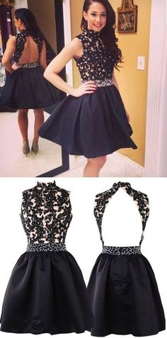 vintage homecoming dresses, black homecoming dresses, backless homecoming dresses, homecoming dresses with appliques, YY374