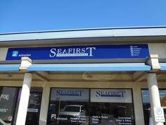 Store front signage and window graphics done by Speedpro Signs Sidney BC for Seafirst!