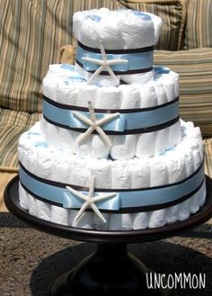 Diaper cake for a nautical baby shower
