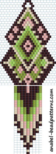 Схема сережек - кирпичное плетение / brick stitch / peyote earrings pattern http://www.anabel-beadpatterns.com/