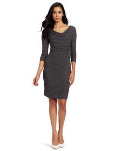 Anne Klein Women's 3/4 Sleeve Cowl Neck Jersey Ripple Dress