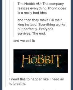 """""""Thorin, No//Tumblr, YES I want this I want them to live I don't want this to be """"one last time"""" I want it to be """"so it begins...the great Dwarf Kingdom of our time""""!"""""""