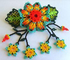 Mexican Huichol Beaded Flower Hair clip by Aramara on Etsy, $18.20