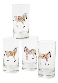 Change Your Colors Glass Set. Decorate your home decor on the brighter side by setting a colorful table with these rainbow zebra glasses! #multi #modcloth