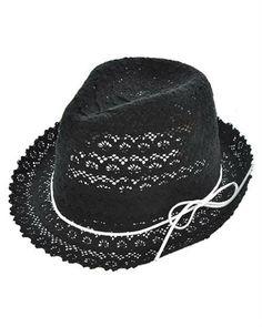 11a3af25b3d Womens Black Cotton Crochet Lace Fedora Hat White by