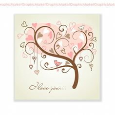 Illustration of stylized love tree made of hearts with two birds vector art, clipart and stock vectors. Precious Moments, Family Tree Art, Shabby, Personalized Plates, Heart Tree, Two Birds, Flowering Trees, Custom Art, Halloween
