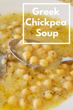 This Greek chickpea soup has nutty, Packed full of healthy ingredients, flavored with the most favorite Mediterranean combo –lemon and orega. Vegan Soups, Vegan Dishes, Vegetarian Recipes, Healthy Recipes, Quick Soup Recipes, Vegetarian Soup, Healthy Meals, Clean Eating Recipes, Cooking Recipes