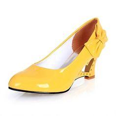 női cipő kerek orr ék sarok lakkbőr szivattyúk bowknot cipő több színben – EUR € 21.48