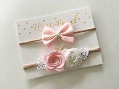 Baby Girl Pink & White Wool Felt Flower Lace Headband / Small Pink Bow Nylon One Size Headband Newborn Gift Set/ Baby Shower
