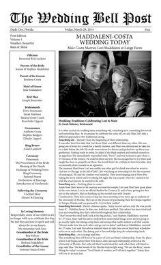 Wedding Program Wedding Newspaper Can also by ForMomentsThatMatter, $17.00