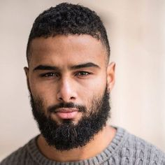 Black Men's Haircuts : Messy Thick Beard For Black Guys Mens Haircuts Messy, Mens Hairstyles With Beard, Black Men Haircuts, Men's Haircuts, Men In Black, Dark Men, Black Guys, Popular Beard Styles, Beard Styles For Men