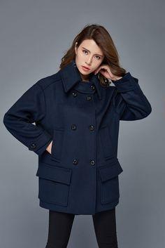 Navy Blue Short Coat Wool Double-Breasted Warm Winter von YL1dress
