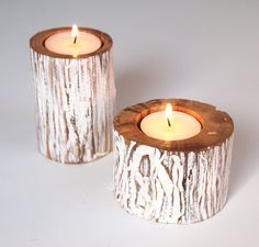 Cottage Candle Holders Tea Light Zen White Eco Friendly Reclaimed Wood Rustic Home Decor - Set of Two