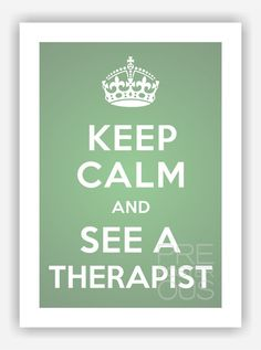 """A3 / Keep Calm & See a Therapist / Original Art Poster / 11.7""""x16.5"""" (297x420 mm) / Art Print / Whimsical / Teal - White on Etsy, $15.50"""
