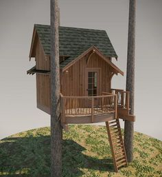 The classic lines of the Fall City treehouse are hard to disagree with. Measuring in at just over 110 square feet (not including the deck), the Fall City is . Building A Treehouse, Build A Playhouse, Building A Shed, Treehouse Ideas, Building Plans, Ship Ladder, Fall City, Tree House Plans, Tree House Designs