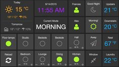 Home dashboard, showing interactive SmartThings modules, presence and Nest. Home Automation System, Smart Home Automation, Smart Home Security, Home Security Systems, Security Companies, Diy Electronics, Electronics Projects, Electrical Projects, Raspberry Projects