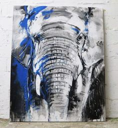 """One of the big five"" Elefant Acrylmalerei auf Leinwand #zeitgenössische Malerei #art #kunst #contemporaryart #expressiv #africa #kunst"
