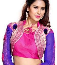 Buy Blue N Pink Embroidered Art Silk Designer Unstitched Blouse Piece blouse-fabric online