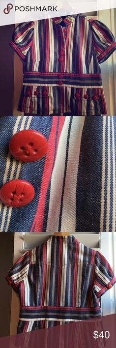 Anthropologie twill short sleeve blazer Adorable red, ivory & blue cotton linen short sleeved blazer with fun red buttons- by Taikonhu. This was an easy go to piece before I became a stay at home mom. Looks great with ivory wide leg pants & platforms. I'll miss this one! One of the buttons on the sleeve is coming loose...otherwise EUC. Anthropologie Jackets & Coats Blazers