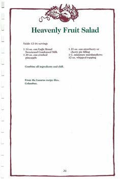 Retro Recipes, Old Recipes, Vintage Recipes, Cookbook Recipes, Sweet Recipes, Cooking Recipes, Jello Fruit Salads, Fruit Salad Recipes, Dessert Recipes
