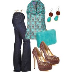 Brown and Aqua created by styleofe on Polyvore