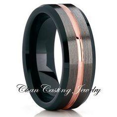 Mens Rose Gold Tungsten Ring,Tungsten Carbide Ring,Tungsten Wedding Band,Gunmetal Tungsten Ring,Tungsten Carbide Ring,Engagement Tungsten Band
