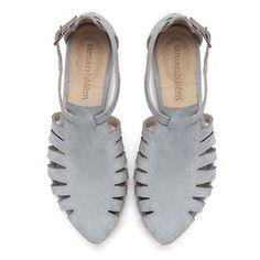 Alice, Light Blue shoes, Flats, Leather Sandals