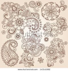 Henna Paisley Flowers Mehndi Tattoo Doodles Set- Abstract Floral Illustration Design Elements - stock vector