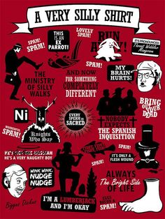 An infographic of classic Monty Python quotes Monty Python, British Comedy, Geek Out, Classic Tv, Nerdy, Funny Pictures, Moving Pictures, Funny Pics, Hilarious