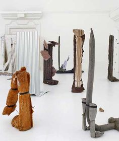 An installation view of various abstract sculptures by artist Michael Dean in the Turner Prize 2016
