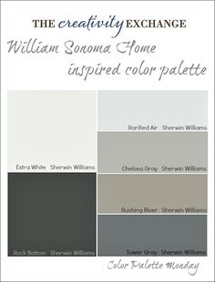 William Sonoma Home Inspired Paint Color Palette. Interior Designs Gallery at Extraordinary Neutral Color Palette Photo Decoration Ideas Interior Paint Colors, Paint Colors For Home, House Colors, Wall Colors, Grey Colors, Interior Painting, Living Room Paint, My Living Room, Sol Sombre