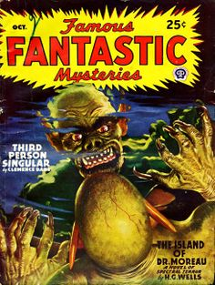 Famous Fantastic Mysteries, December YYYY cover by Lawrence Sterne Stevens