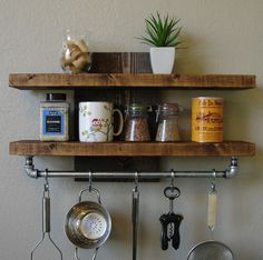 Interesting rustic and industrial mix shelves
