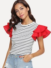 Casual Striped and Colorblock Regular Fit Round Neck Short Sleeve Butterfly Sleeve Pullovers Black and White Regular Length Contrast Layered Sleeve Striped Tee Fashion 2020, Diy Fashion, Cream T Shirts, Haute Couture Fashion, Mode Hijab, Mode Inspiration, Mode Style, Striped Tee, Refashion