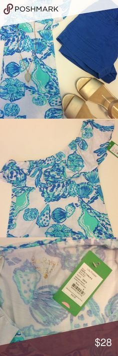 Lilly Pulitzer tank  Go show off those shoulders with this adorable tank! It was designed for the summer 2016 collection. You can wear blue, white, yellow, or jean bottoms with this shirt. It will come in original packaging too. Last picture taken from www.lillypulitzer.com  Lilly Pulitzer Tops Tank Tops