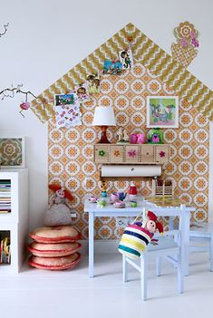 Great idea for girls room.  Using vintage wallpaper or a cheaper alternative for really nice paper.