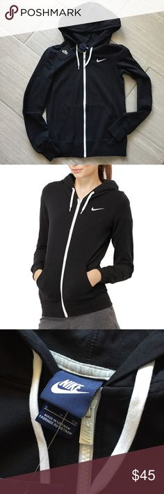 Nike Hoodie Nike Basic Full Zip Hoodie • Light weight and soft • All black with white zipper and details • Size Small • NWT Nike Tops Sweatshirts & Hoodies