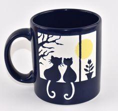 Waechtersbach Coffee Mug Cats In Window Under Full Moon W Germany Embossed
