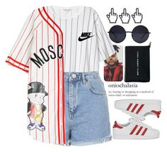 """Street."" by bangtanfuck ❤ liked on Polyvore featuring Retrò, Monki, Topshop, NIKE, Moschino and adidas Originals"