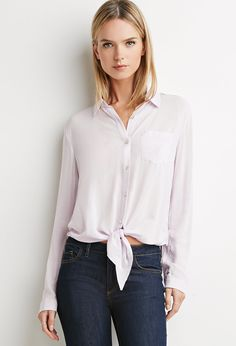 Contemporary Knot-Front Shirt | LOVE21 - 2049258976
