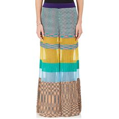Missoni Women's Colorblocked Knit Palazzo Pants ($1,745) ❤ liked on Polyvore featuring pants, palazzo pants, yellow pants, missoni, pleated trousers and missoni pants
